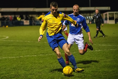Lee Chappell attacks during the Stones' draw: Steve Foster/Wealdstone FC