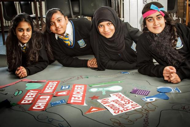 Left to right: Shivani Doshi, 12, Alka Vekaria, 13, Zahra Shaikh, 13 and Iqra Qureshi, 12 (photo by Camille Shah)