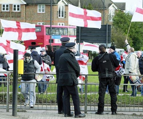 The English National Resistance held a small protest in an area not covered by the injunction