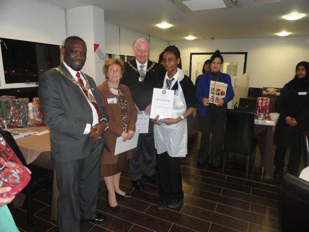 Olivia Taiwo was presented with her award by the Mayor Barnet, Councillor Brian Schama