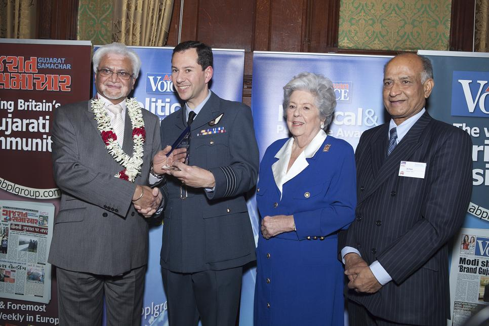 Kanti Nagda was given his award by are Baroness Betty Boothroyd, former speaker of the House of Commons, and Mr C B Patel of Asian Voice