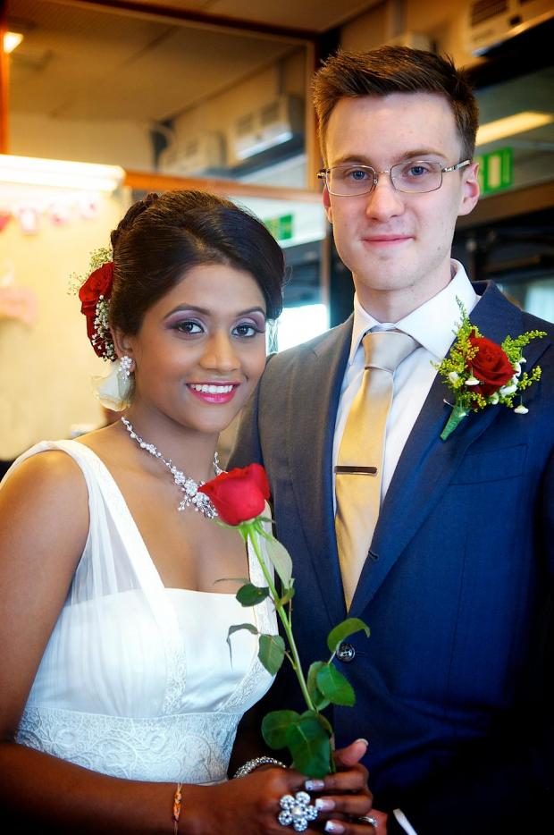 Matthew Barker, 22 and Heshani Rajapaksha Mudiyanselage, 27, married on Valentine's Day