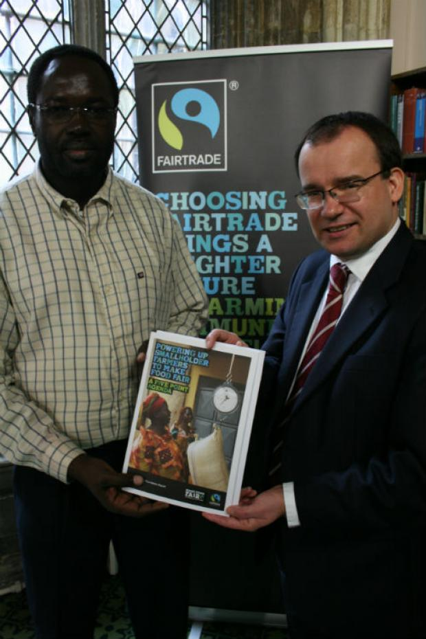 Harrow West MP Gareth Thomas meets Frank Olok, coordinator of Malawi Fairtrade network