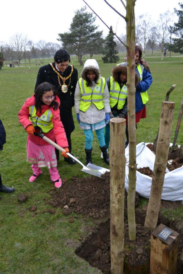 Pupils of Norbury School are helping Harrow Mayor Nazim Ismail plant a tree