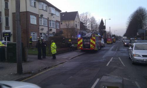 Firefighters at the scene in Harrow View