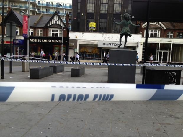 The scene of the stabbing on September 3 last year in Harrow Town Centre