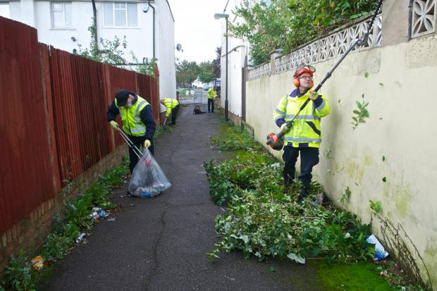 Harrow Council street cleaning team at work