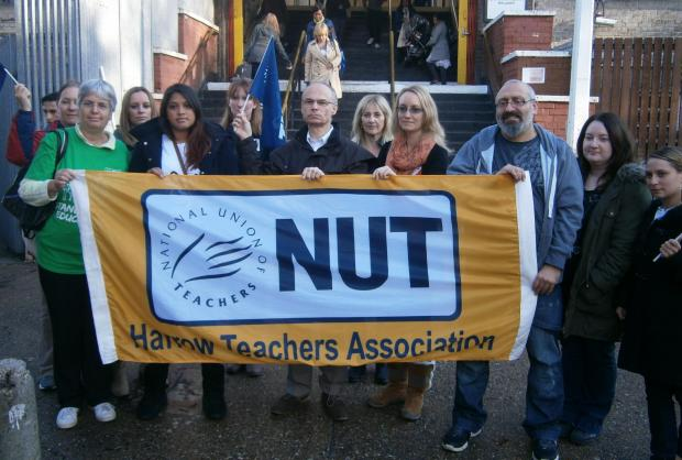Harrow teachers during a regional strike in October last year