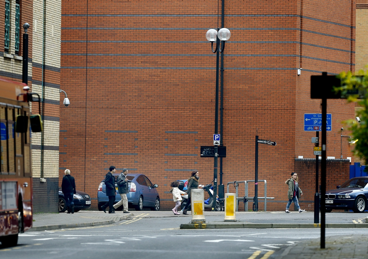 The scene close to St George's shopping centre after the incident