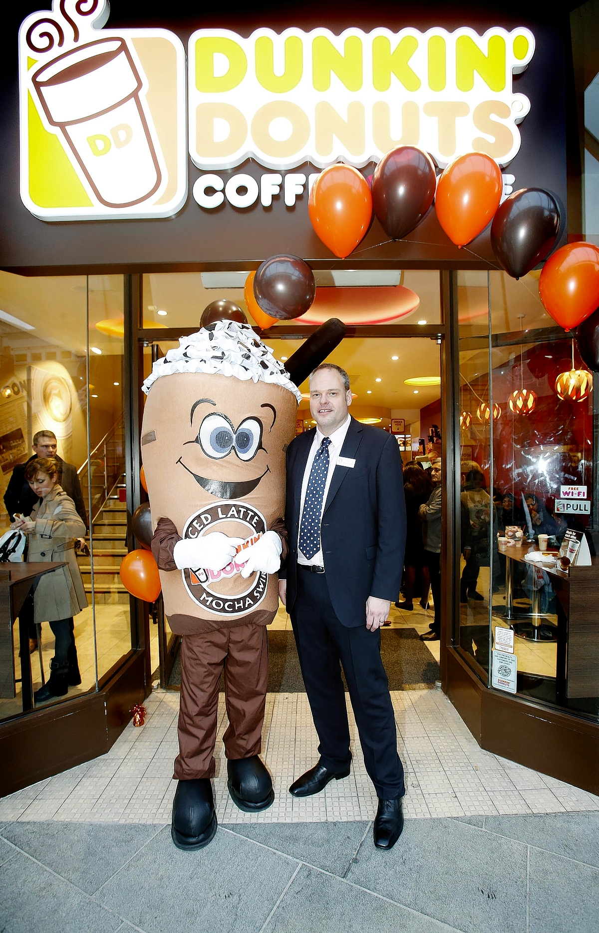 The official opening of the UK's first Dunkin' Donuts in 20 years