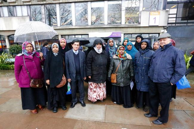 Somali women demonstrated outside Harrow Civic Centre over an adoption they say is against their religious beliefs