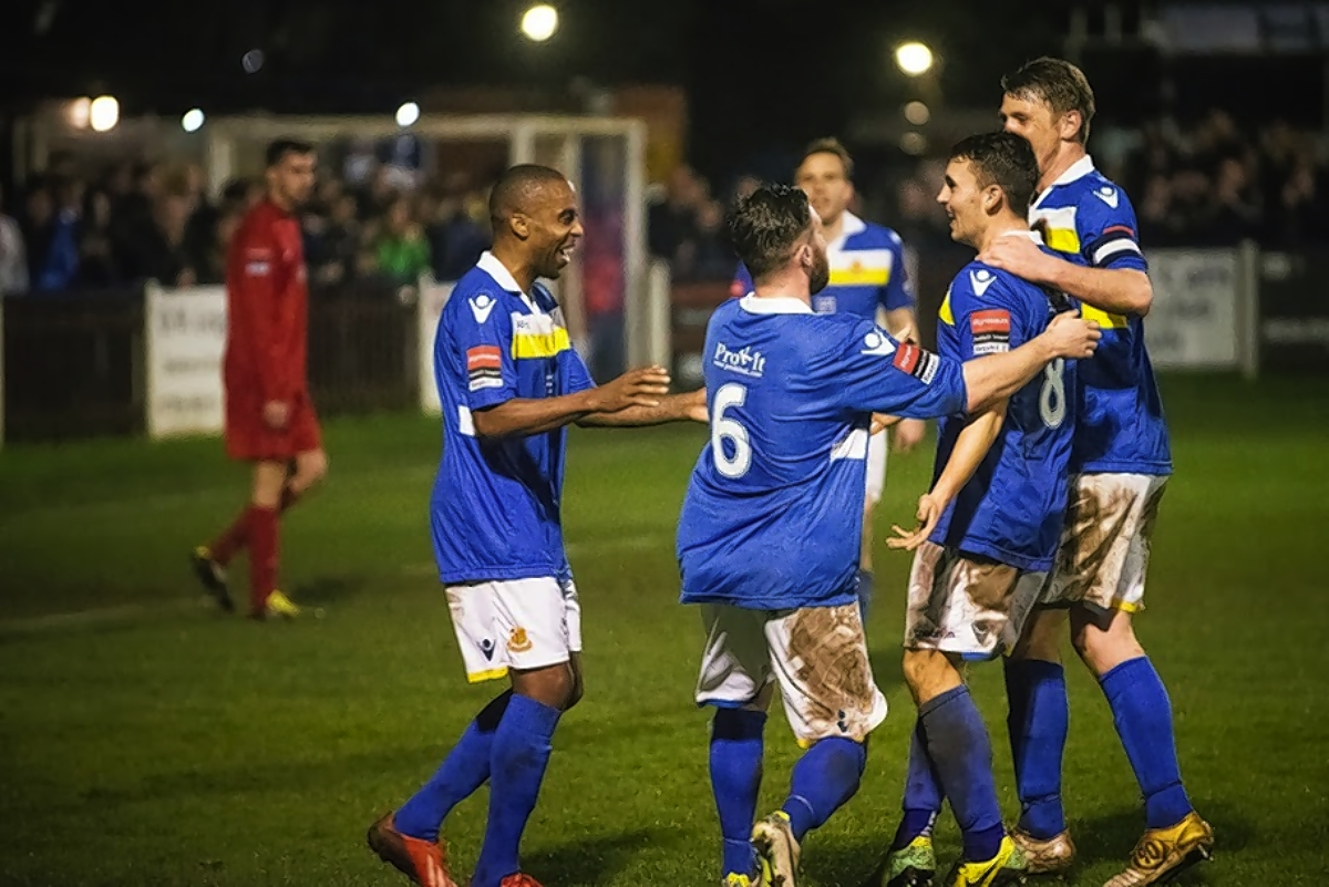The Stones celebrate their derby win over Harrow Borough: Steve Foster/Wealdstone FC