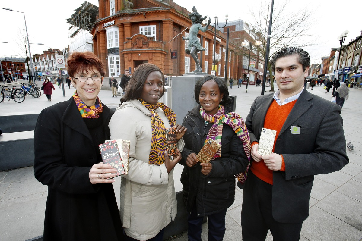 Farmers Mercy Zaah and Mavis Aduigyamfi were invited to sell their products in Harrow as part of an Oxfam campaign