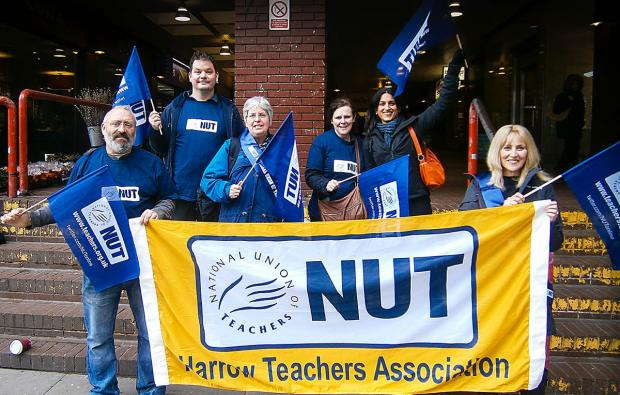 Harrow Times: Members of Harrow NUT meeting in the town centre before heading into London