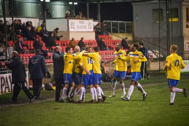 The Stones celebrate a goal during their win at Lewes: Steve Foster/Wealdstone FC