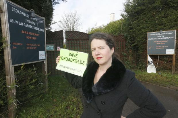 Georgia Weston outside the Broadfields playing fields site
