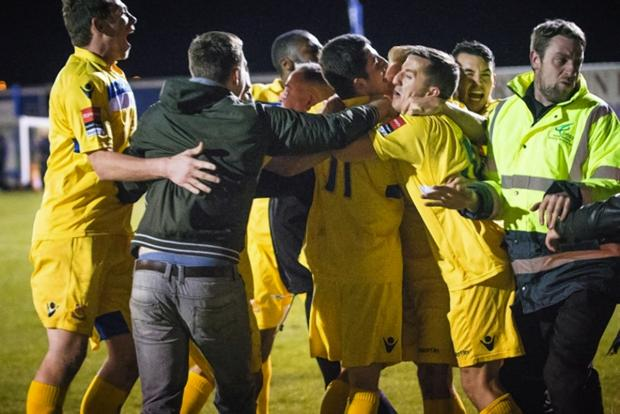 The Stones celebrate clinching the Ryman Premier Division title: Steve Foster/Wealdstone FC