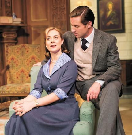 Joanna Croll (Molly Ralston) and Henry Luxemburg (Giles Ralston) appear in Agatha Christie's The Mousetrap at The Beck Theatre in Hayes.