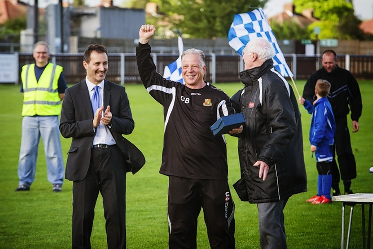 Gordon Bartlett celebrated their title win on Saturday: Steve Foster/Wealdstone FC