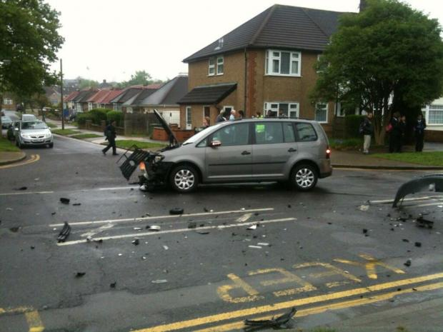 Harrow Times: The Audi A5 and a Volkswagen Touran collided in Porlock Avenue, outside Whitmore High School. Picture tweeted by @SV_Games