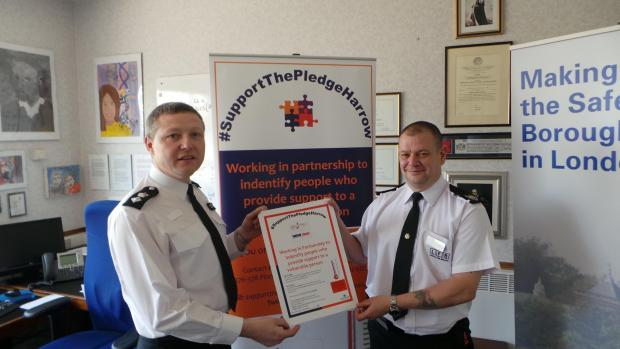 Police borough commander Simon Ovens and Borough Commander London Fire Brigade Richard Claydon