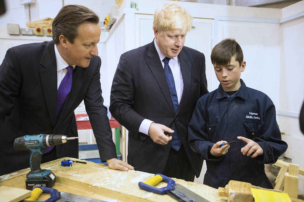Prime Minister David Cameron and Mayor of London Boris Johnson spoke to construction students