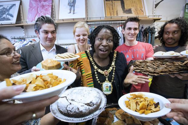 Mayor joins charity shop for Fairtrade cafe