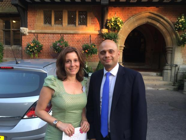 Parliamentary candidate for Harrow West, Hannah David with Sajid Javid