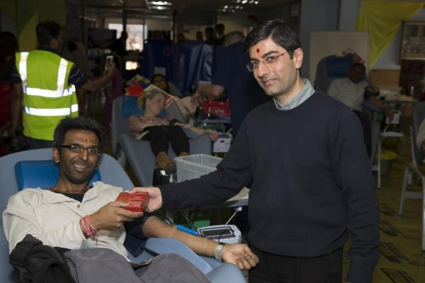A picture of April's blood donation session held by the Shree Swaminarayan Mandir Kingsbury