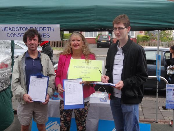 Headstone North Councillor Janet Mote at her petition stall on Saturday