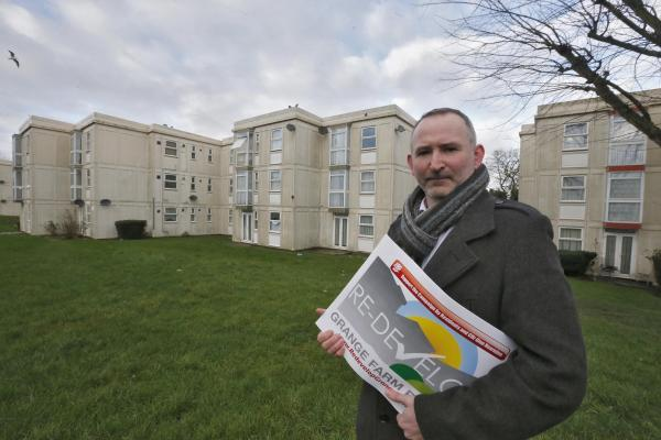 Harrow Times: Cabinet member for housing Cllr Glen Hearnden in the Grange Farm Estate