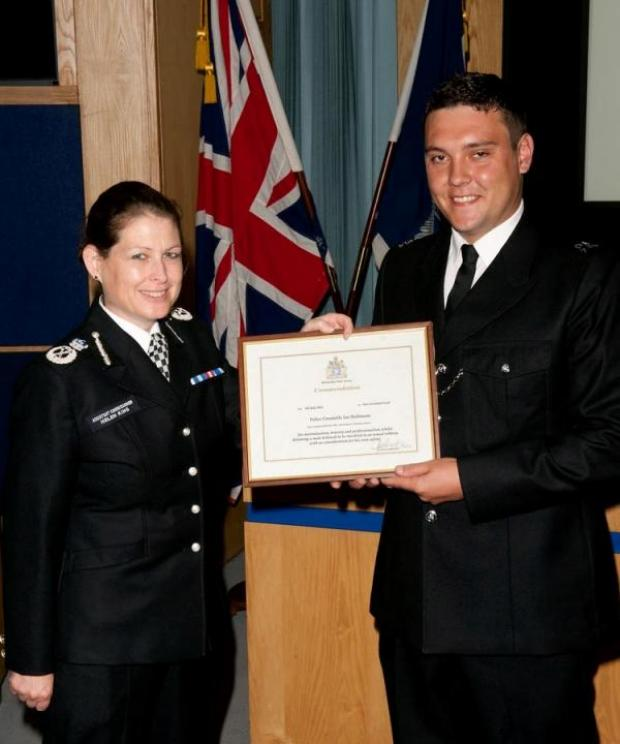 Harrow Times: Police Constable Ian Bullimore (R) with Assistant Commissioner of Territorial Policing, Helen King (L)