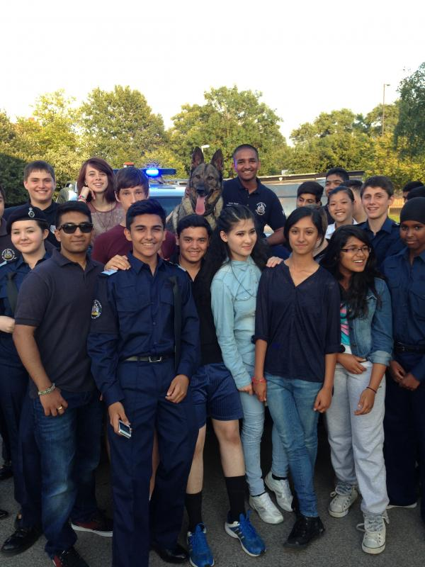 Police dog visits cadets meeting