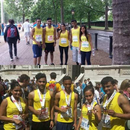The 5P team: Vidhata, Khushboo, Neil, Kaveet and Jigar Patel ran in memory of Upender Patel,
