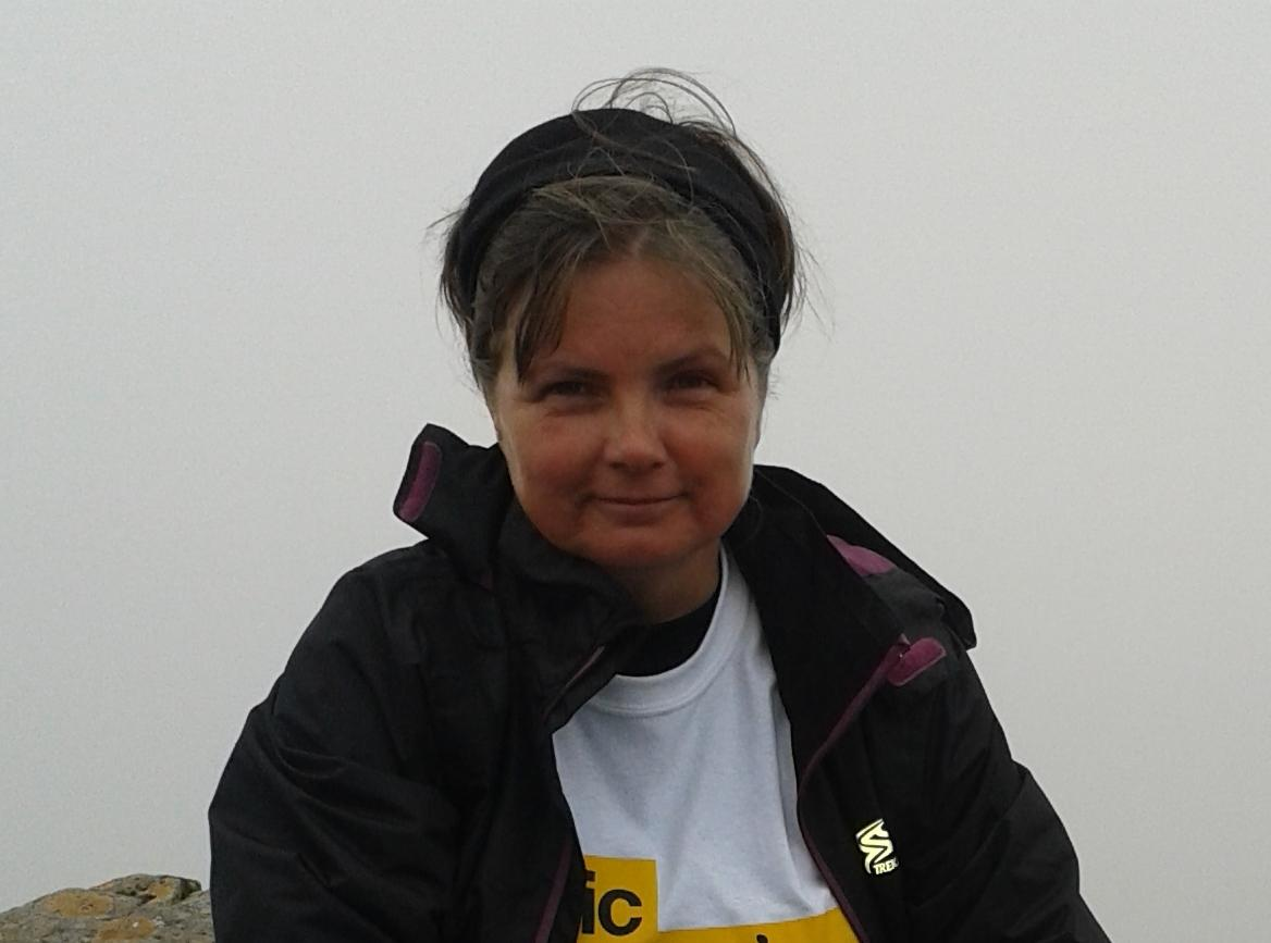 Gini Moore during her trek up Ben Nevis