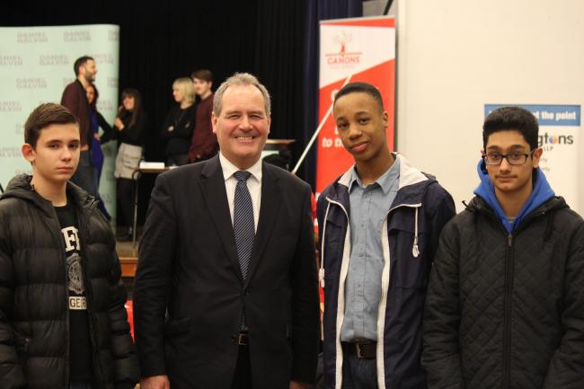 Students with MP Bob Blackman