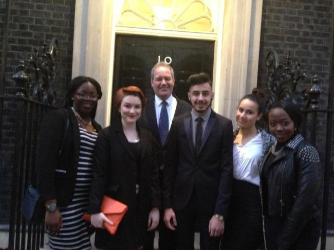 Media students with Bob Blackman MP outside 10 Downing Street