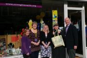 Robin Webb (right) Chief Executive of St Luke's with staff and volunteers at 10th anniversary of Stanmore shop