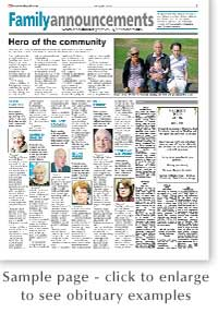 Harrow Times: Obituary Sample Page