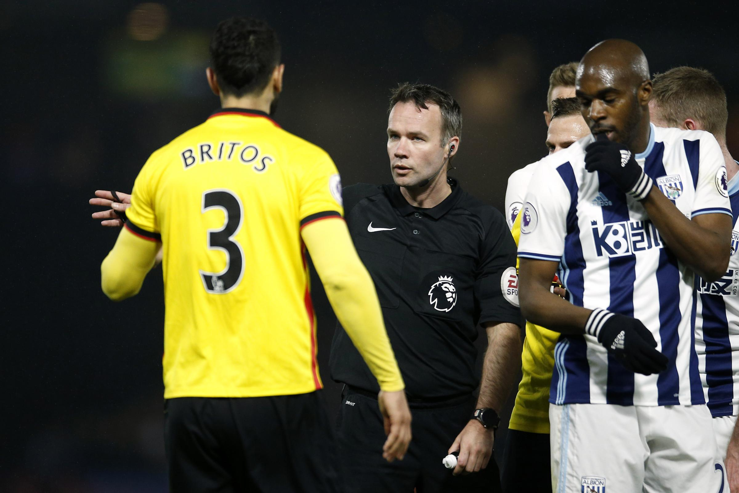Referee Paul Tierney sent off Miguel Britos against West Brom in 2017. Picture: Action Images