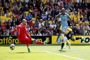 Heurelho Gomes is beaten by Fernandinho for Manchester City's fourth in their 5-0 rout of Watford. Picture: Action Images
