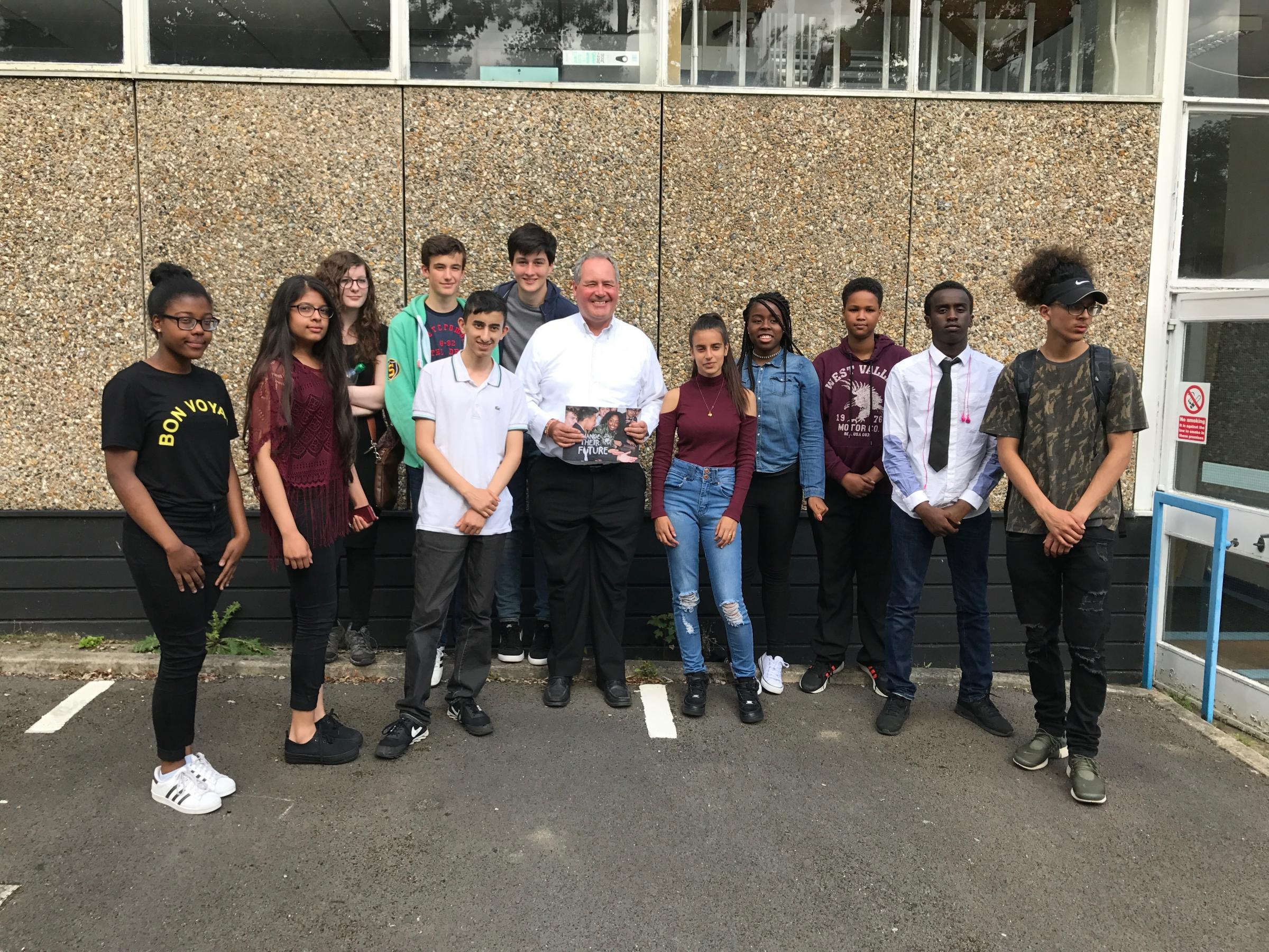 Harrow East MP Bob Blackman with young people taking part in the National Citizen Service programme