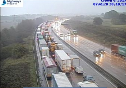 Queuing traffic on the M25 this morning