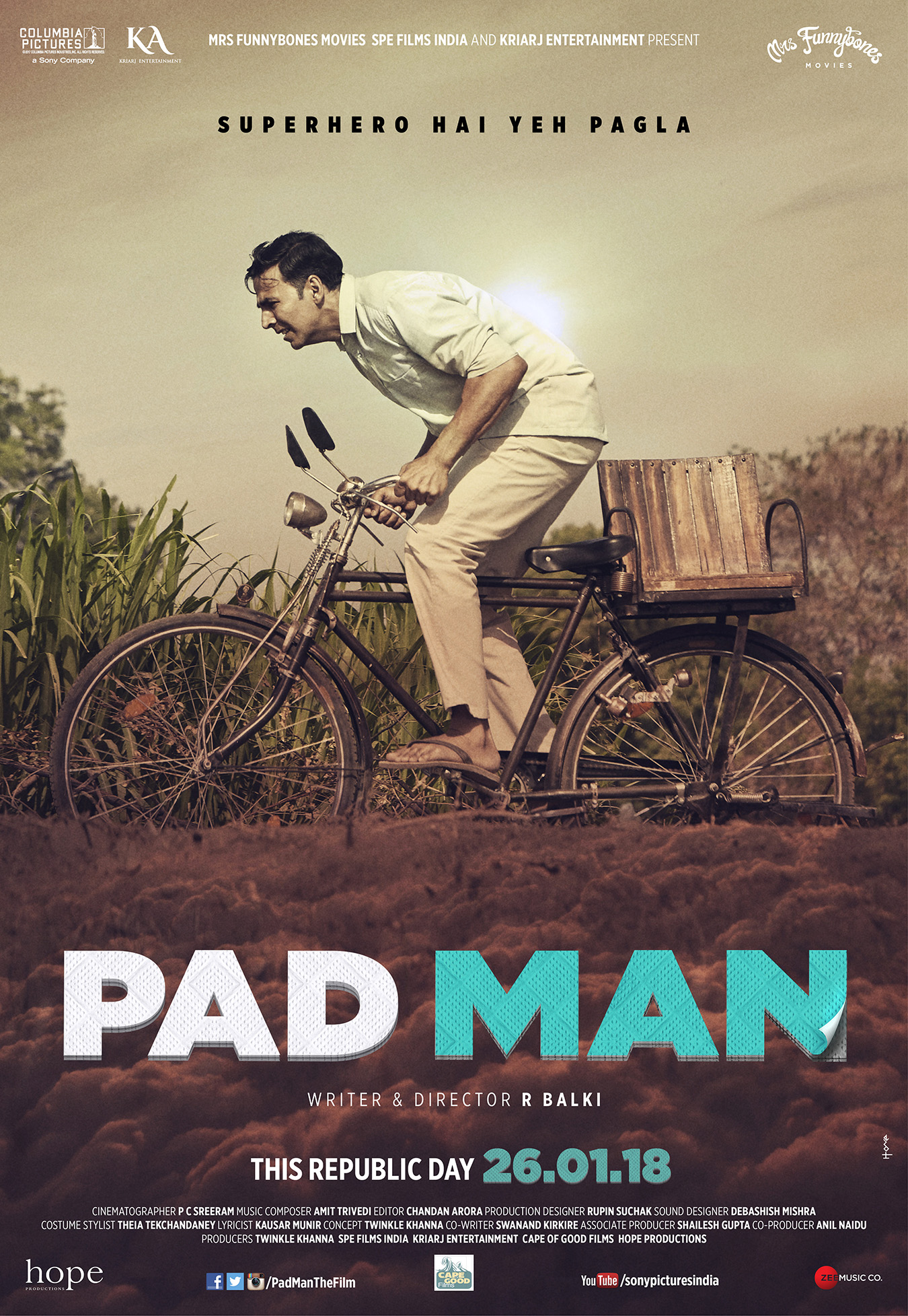 NOT YOUR AVERAGE SUPERHERO FILM! HERE'S PRESENTING THE MOST PROGRESSIVE FAMILY ENTERTAINER 'PAD MAN', IN CINEMAS 26TH JANUARY 2018