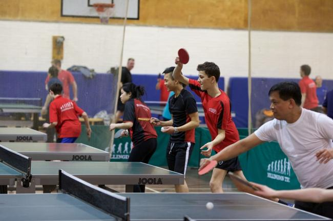 Children taking part in a table tennis session at Harrow Leisure Centre