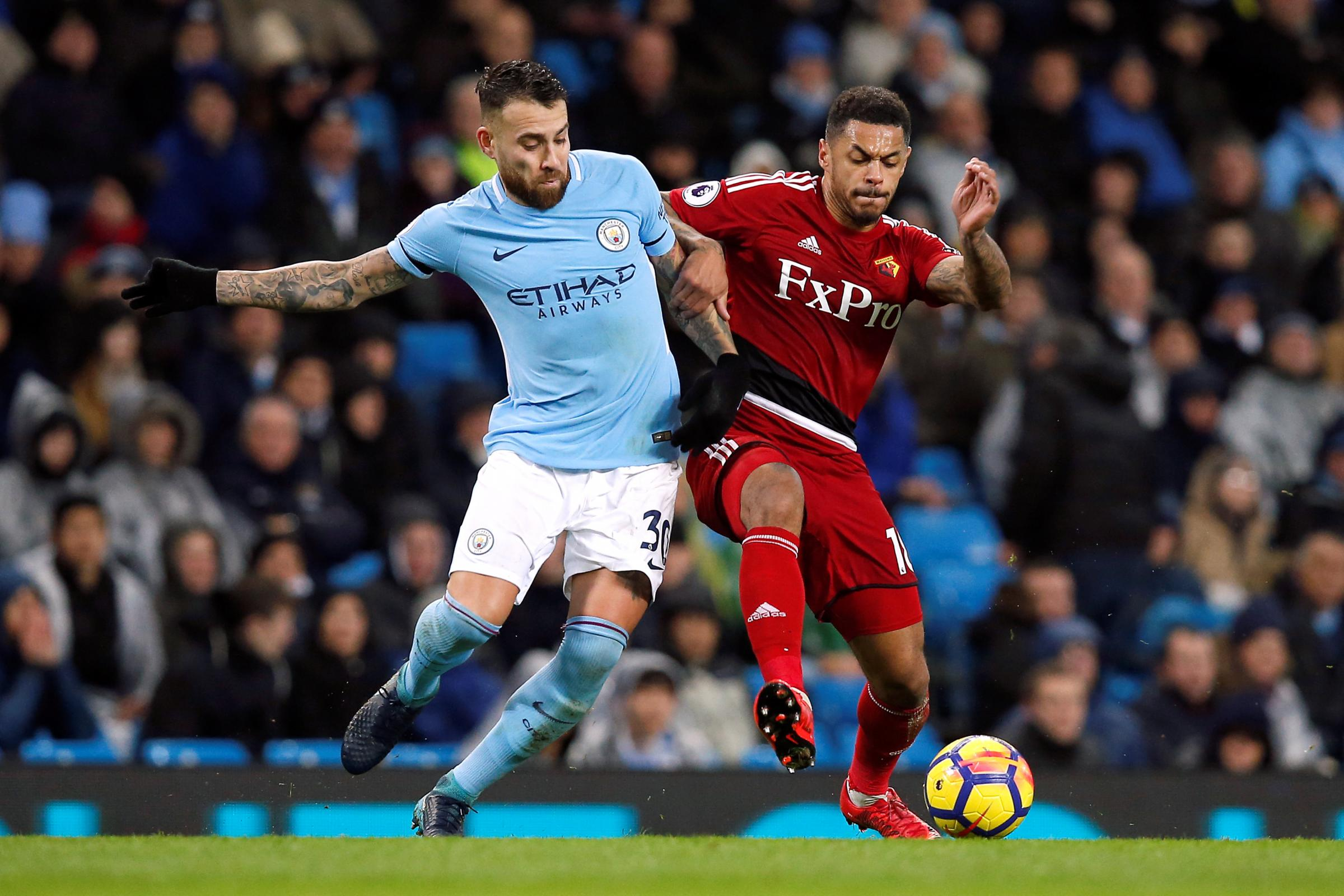 Andre Gray grabbed a consolation strike for Watford against Manchester City. Picture: Action Images