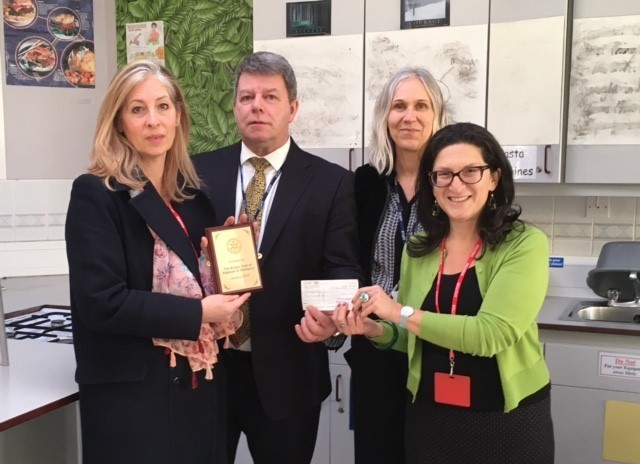 Rotarian & past Park High pupil Anna-Sophia Chapman, Head teacher Emlyn Lumley, head of design technology Amanda Aattfield and Rotary of Edgware & Stanmore president Danielle Benson