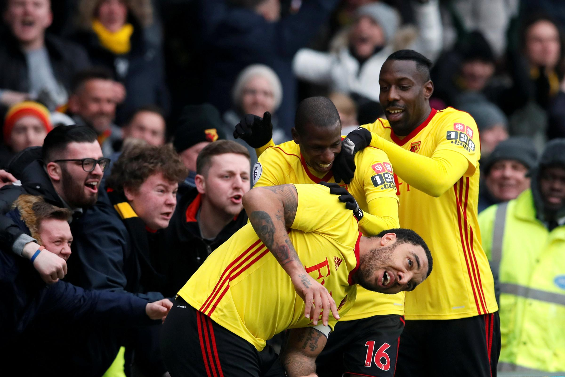 Watford's players celebrate Troy Deeney's winner at Vicarage Road yesterday. Picture: Action Images