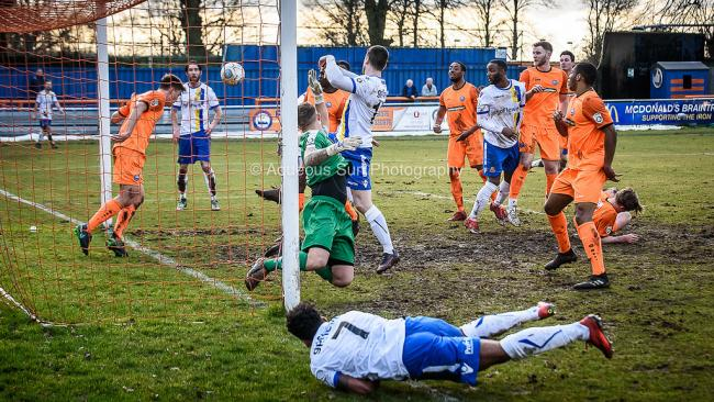Following Saturday's draw at Braintree (pictured), Stones were edged out by the league leaders last night. Picture: Aqueous Sun Photography