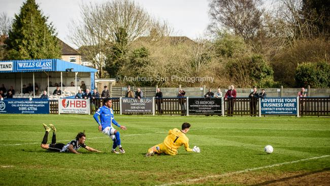 Bradley Bubb was denied a first-half goal by the Whitehawk keeper. Picture: Aqueous Sun Photography